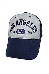 Los Angeles Embroidered On Cotton Grey Mesh Caps