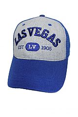 Las Vegas Embroidered On Cotton Grey Mesh Caps