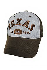 Texas Embroidered On Cotton Grey Mesh Caps