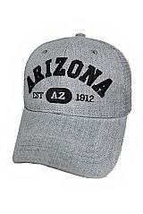 Arizona Embroidered On Cotton Grey Mesh Caps