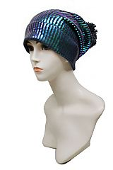 Foiled Metallic Chunky Thick Ribbed Knit Beanie Pom Pom Hat