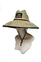 Black Trimmed California Republic Bear Straw Lifeguard Hat
