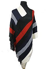 Minimal Stripe Color Block Large Stripe Fall Collection Poncho