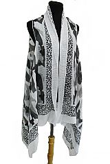 Military Camouflage With Leopard Trimmed Printed Kimono Vest Cover Up