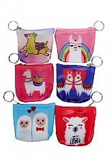 Animated Alpaca Printed Soft PVC Coin Bag with Key Chain