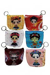 Animated Frida Kahlo Printed Soft PVC Coin Bag