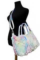 Iridescent Colored Faux Fur Medium Hobo Bag
