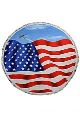 American Flag, Jungle Leaves, Anchor Pattern Thick Circle Beach Towel with Tassels