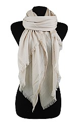 Plain Silk Feel with fringe design Super softness Scarf