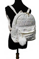 Triangle Embroidered Faux Leather Backpack with Pom Pom