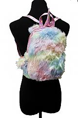 Iridescent Colored Faux Fur and Unicorn Horned and Eared Soft PVC Backpack