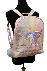 Mermaid Design Pearl Resembling Glittered Iridescent Pouch Styled with Pom Pom Decoration Back pack