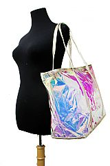 Iridescent Fashion with Zipper Tote Bag