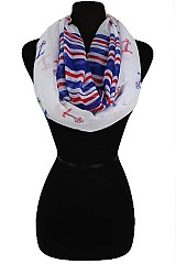 Color Full Anchor Pattern Infinity Scarves