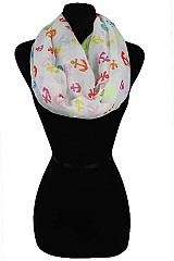 Multicolor Anchor Pattern Infinity Scarves