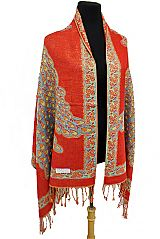 Peck Coke and Rose Flower pattern Gold Metallic Thread Silk Thick Pashimina Shawls Scarf