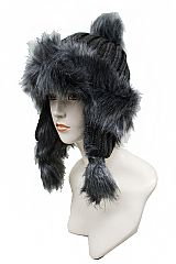 Extra thick Ribbed Knit Faux Fur Trimmed Beanie