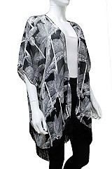 Fringe Accent Sheer Kimono Feather Pattern