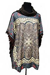 Native Pattern Cowl Neck Softness Knitted Poncho