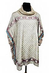 Native Pattern Cowl Neck Softness Knitted with Fringe Poncho