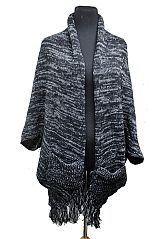 Gross Grain Washed Front Pocketed Baggy Softness Knit Cardigan Poncho Style