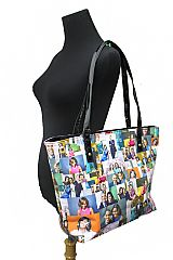Collage The Obama's Portrait Patent Faux Leather Tote Bag
