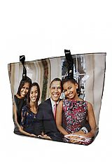 The Obama's Portrait Patent Faux Leather Tote Bag