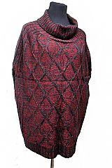 Slit Cut Open Arms Diamond Embossed Front Softness Thrown Over Poncho