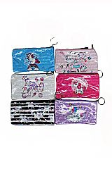 Glossed Polka Dot and Animated Unicorn Patterned Soft PVC Small Pouch