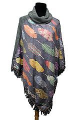 Turtle Neck Colorful Pastel Printed Native Feather Softness Poncho