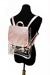 Clear PVC and Glossed PU Leather Backpack