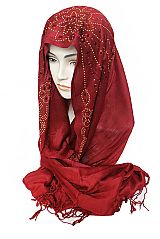 Red And Gold Glitter Sparkle Shiny Shimmer Hijab Scarf Shawl Wrap