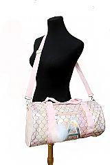 Glossed Mermaid Scale Patterned and Letter A Labeled PU Leather Circular Duffel Bag with Pom Pom