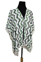 Missoni Pattern Printed with Lace Tassel Semi Sheer Kimono Top