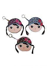 Novelty Animated Little Pigtail Girl Coin Bag