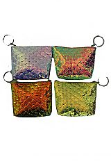 Mermaid Fish Illustrated Embossed Reflective Coin Bags