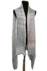 Striped Design Semi Sheer Sleeveless Linen  Feel Super Softness Cardigan Style