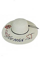 California Color with Flower and Heart Embroidered Patch Floppy Sun Hat