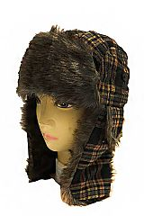 Royal Stewart Tartan Plaid Patterned and Faux Fur Lined Bomber Trooper Hat