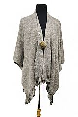 Tinsel Glitter Cape Cloak Softness Poncho With Furry Brooches