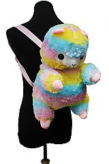 Fluffy Colorful Llama Plush Backpack