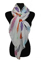 Boho Leaves With Sequin Shimmer Threading Oblong Scarves