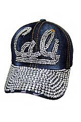 Cali Flat Stone Applique Denim Washed Distressed Baseball Cap