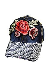 Oversized Blossom Peony Embroidered Applique  Bling Studs  Denim Washed Stone Cap