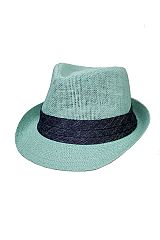 Plain with Jean Fabric Band Design Straw Unisex Fedoras