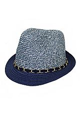 Mixed Sand Toned Toyo Straw And Chained Decor Band Fedora