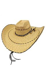 Finest Cowboy Hat Real Straw Palm with Belt Design
