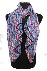 Water Color Effect Chevron Colorful Sheer Chiffon Styled Squared Scarves
