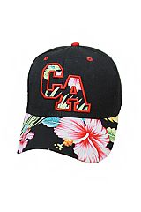 CA State Initial On Floral Hicubus Hawaii Printed Baseball Cap