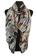 Oversized Abstract Dyed Peacock Feather Printed Softness Shawls Scarf